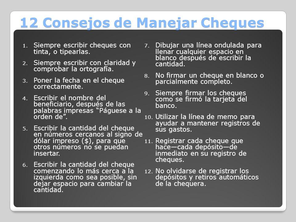 12 Consejos de Manejar Cheques