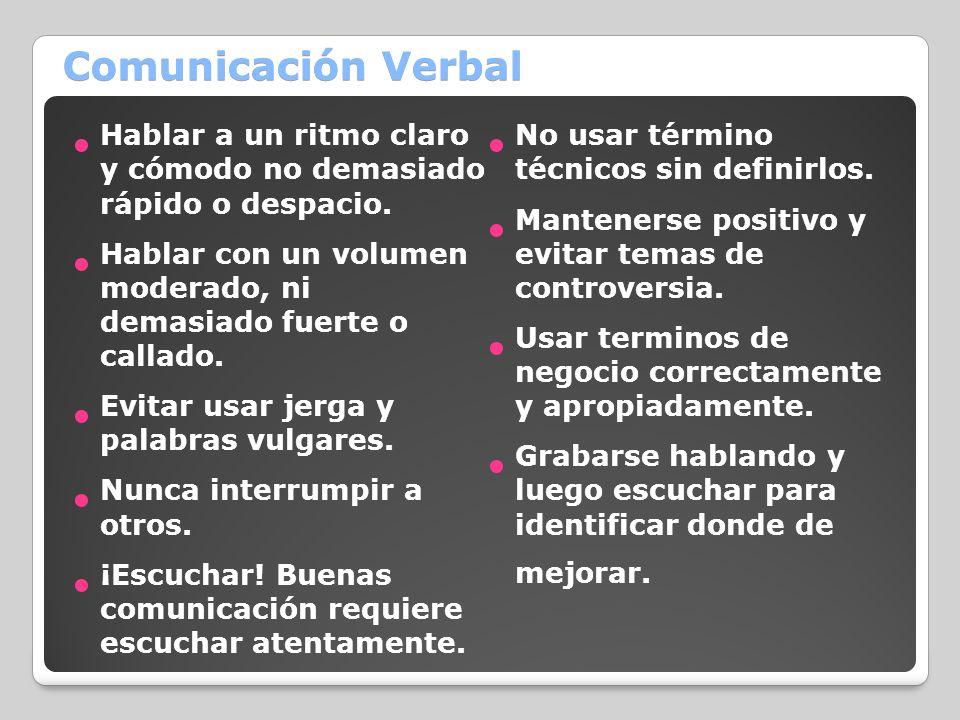 Comunicación Verbal Hablar a un ritmo claro y cómodo no demasiado rápido o despacio. No usar término técnicos sin definirlos.