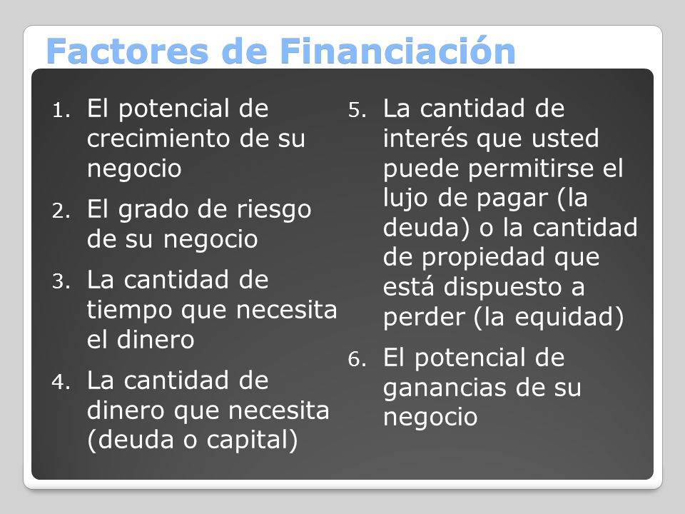 Factores de Financiación