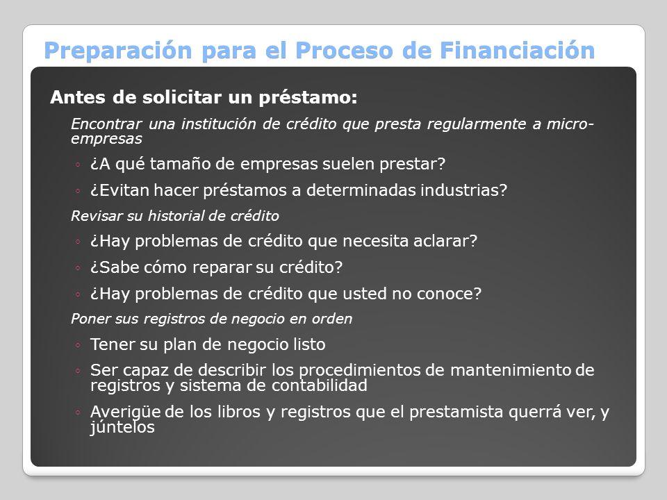 Preparación para el Proceso de Financiación