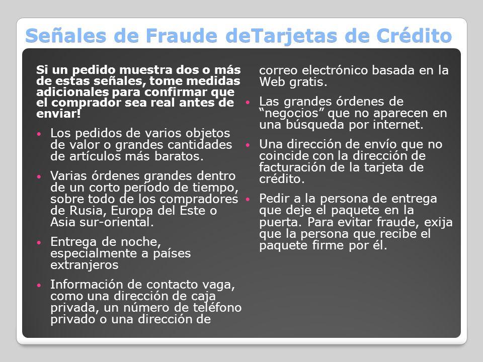 Señales de Fraude deTarjetas de Crédito