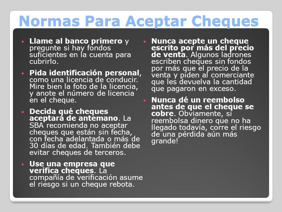 Normas Para Aceptar Cheques