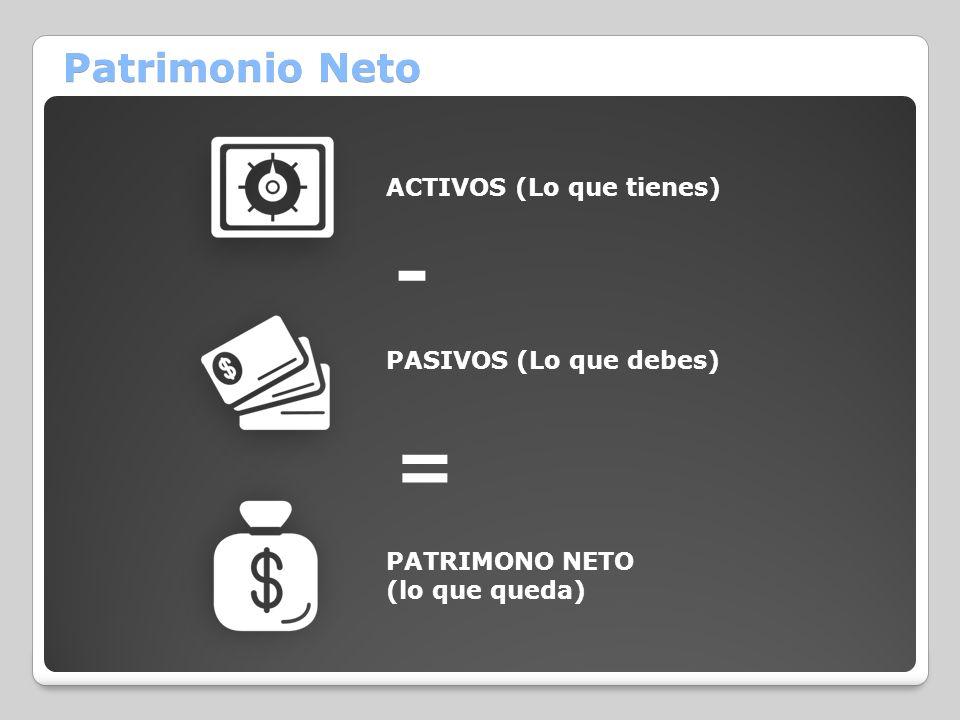 - = Patrimonio Neto ACTIVOS (Lo que tienes) PASIVOS (Lo que debes)