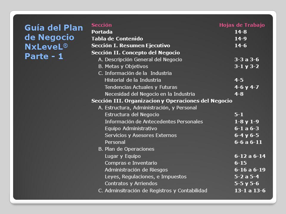 Guía del Plan de Negocio NxLeveL® Parte - 1