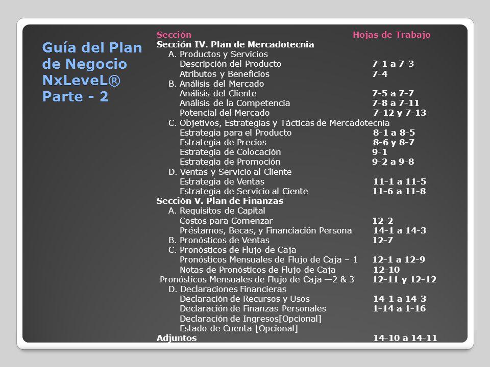 Guía del Plan de Negocio NxLeveL® Parte - 2