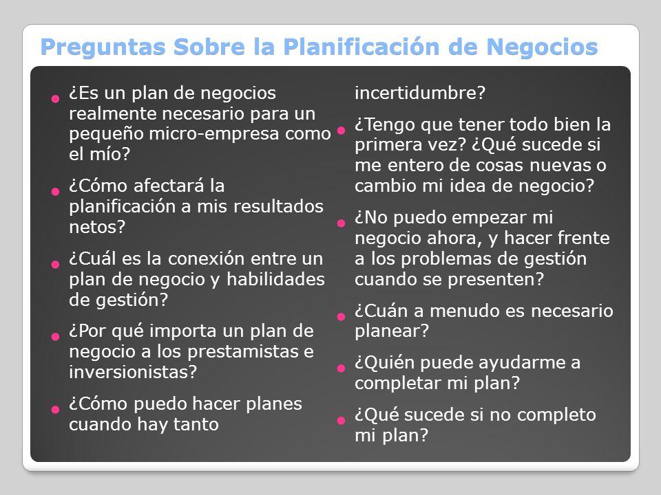 Preguntas Sobre la Planificación de Negocios