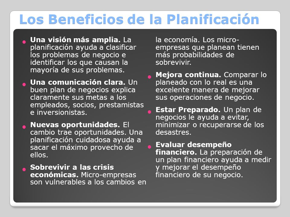 Los Beneficios de la Planificación