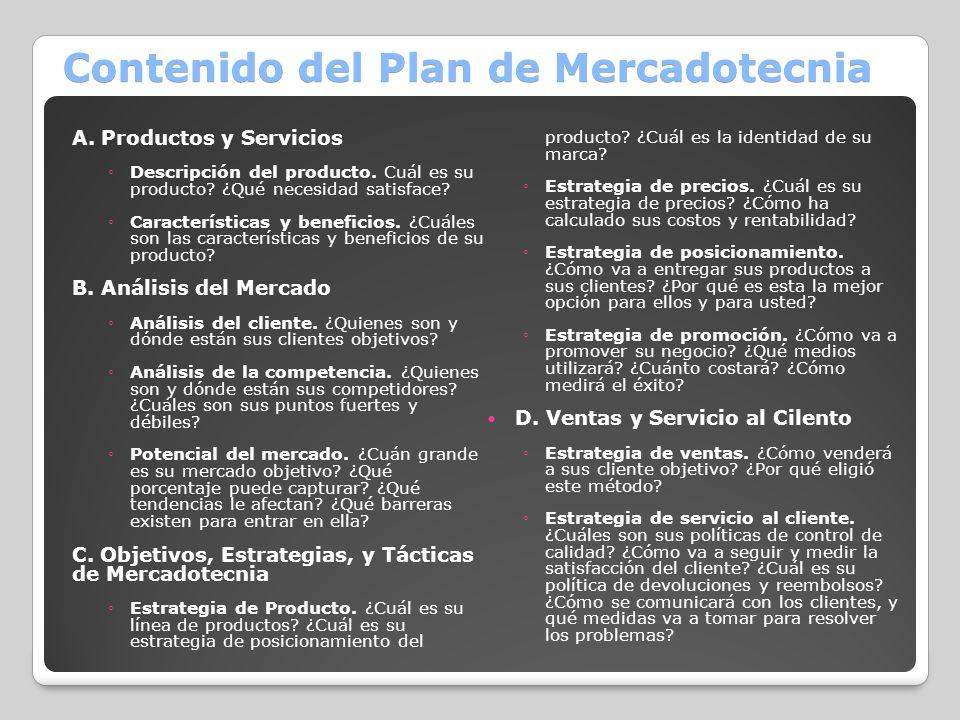 Contenido del Plan de Mercadotecnia