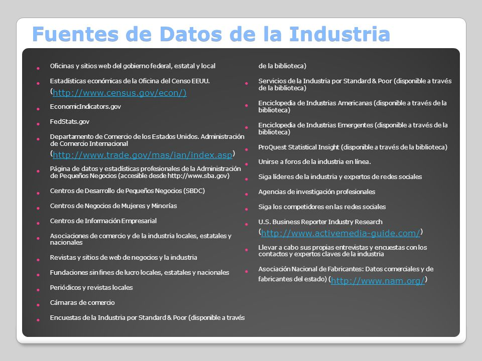 Fuentes de Datos de la Industria