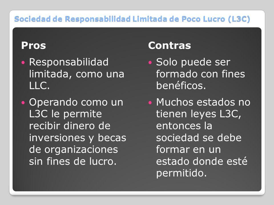 Sociedad de Responsabilidad Limitada de Poco Lucro (L3C)