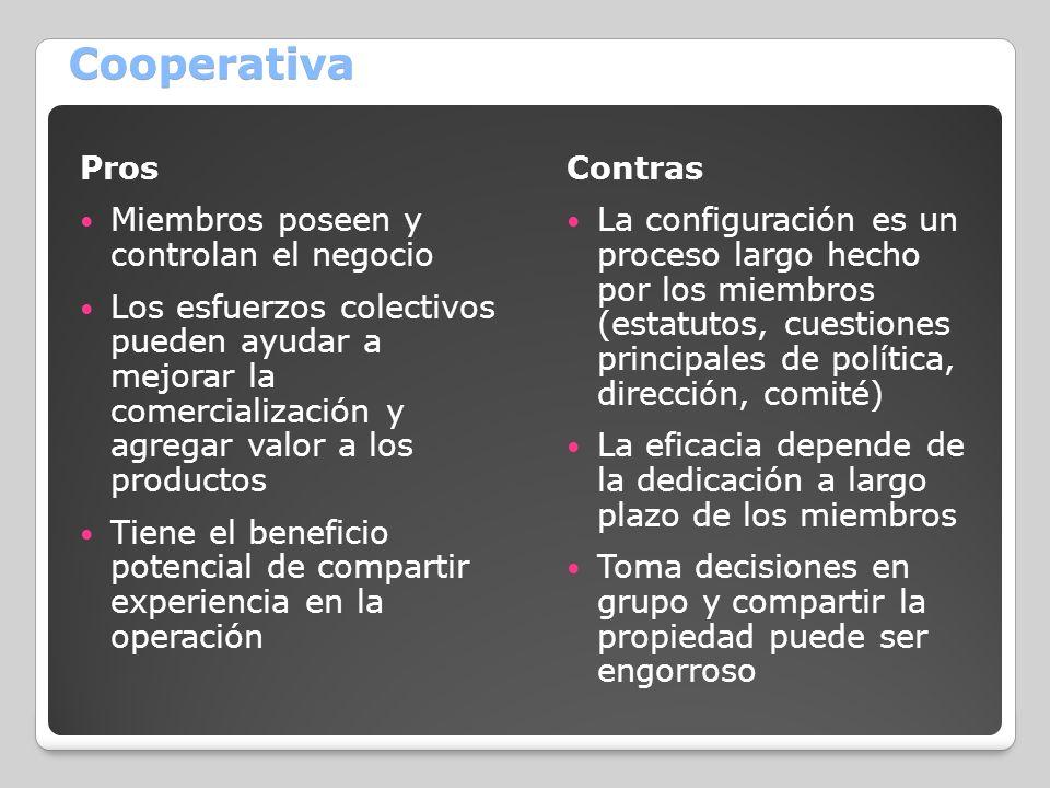 Cooperativa Pros Miembros poseen y controlan el negocio