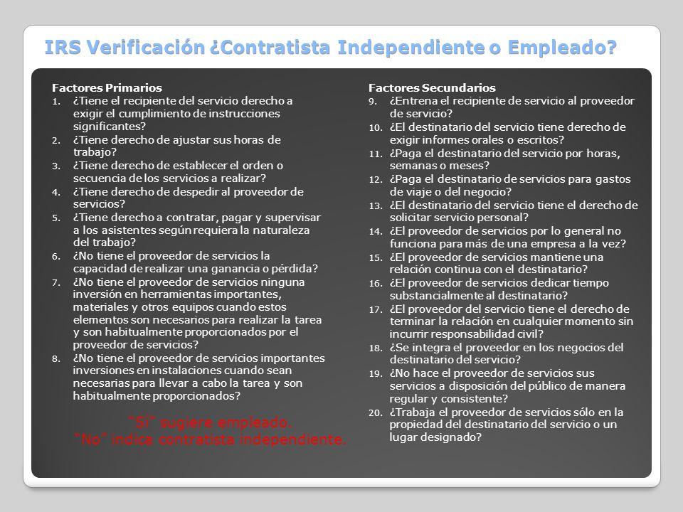 IRS Verificación ¿Contratista Independiente o Empleado