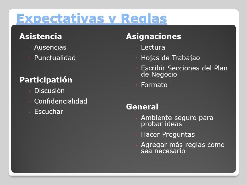 Expectativas y Reglas Asistencia Asignaciones Participatión General