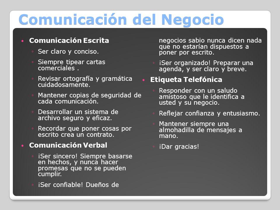 Comunicación del Negocio