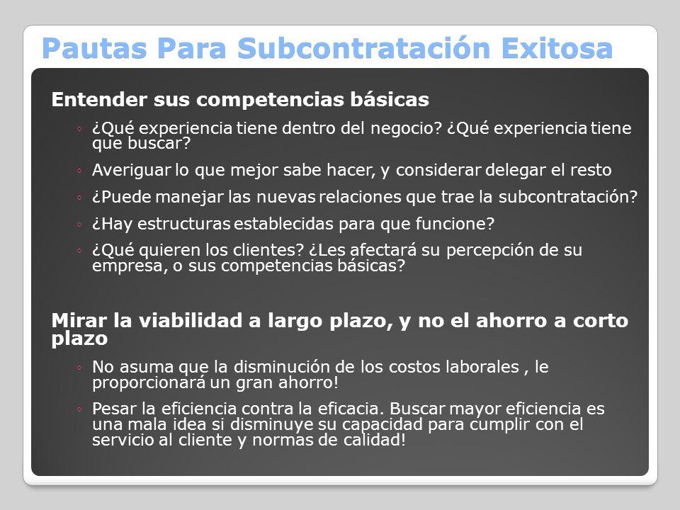 Pautas Para Subcontratación Exitosa