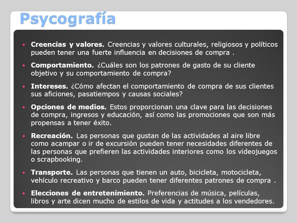 Psycografía Creencias y valores. Creencias y valores culturales, religiosos y políticos pueden tener una fuerte influencia en decisiones de compra .