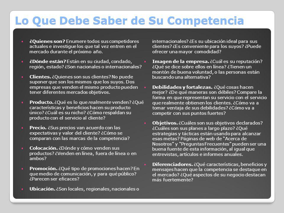 Lo Que Debe Saber de Su Competencia