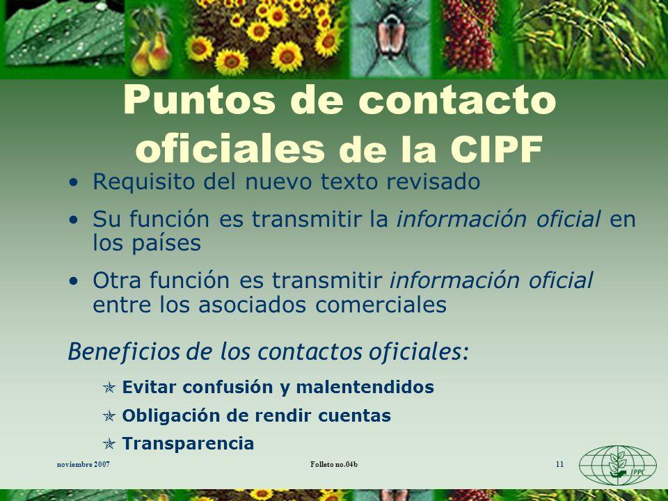 Puntos de contacto oficiales de la CIPF