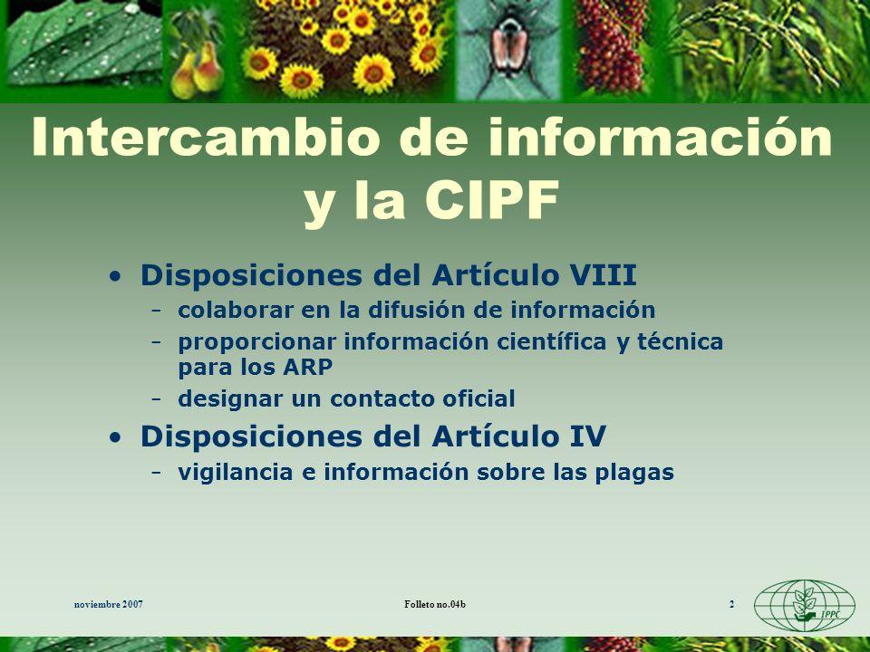 Intercambio de información y la CIPF