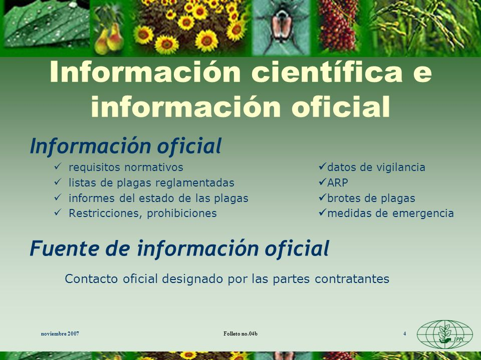 Información científica e información oficial