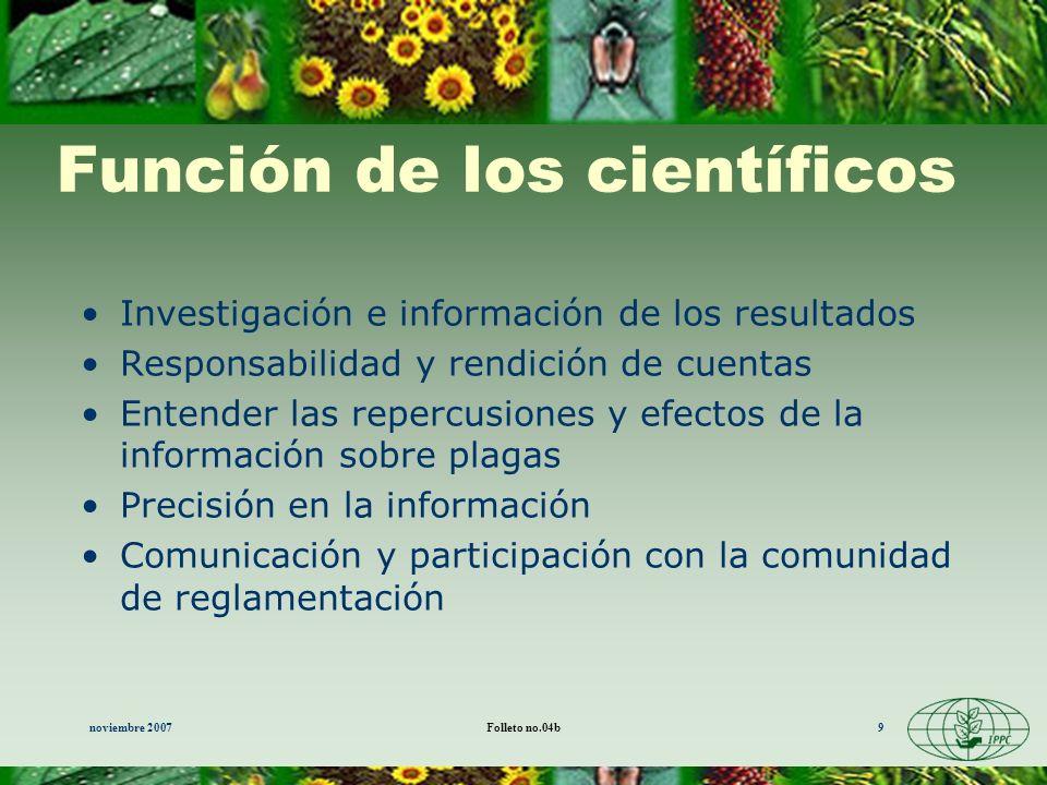 Función de los científicos