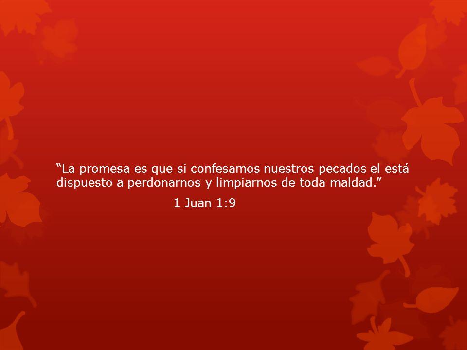 La promesa es que si confesamos nuestros pecados el está dispuesto a perdonarnos y limpiarnos de toda maldad. 1 Juan 1:9