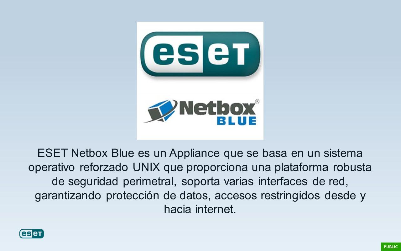 ESET Netbox Blue es un Appliance que se basa en un sistema operativo reforzado UNIX que proporciona una plataforma robusta de seguridad perimetral, soporta varias interfaces de red, garantizando protección de datos, accesos restringidos desde y hacia internet.