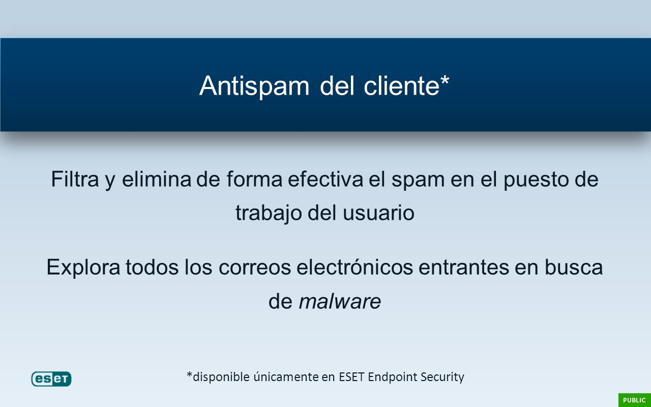 *disponible únicamente en ESET Endpoint Security