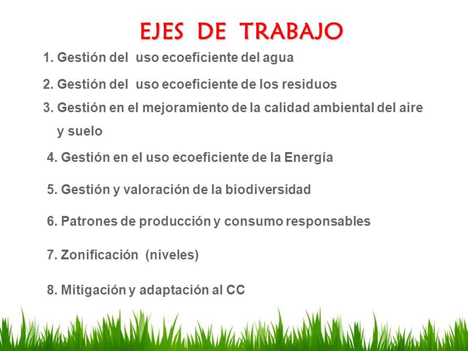 EJES DE TRABAJO 1. Gestión del uso ecoeficiente del agua