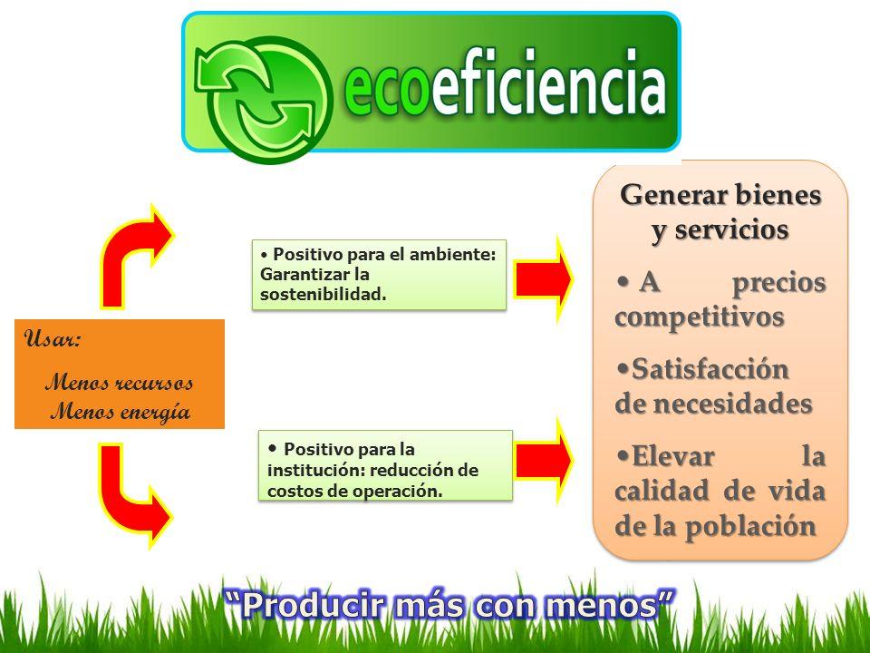 Generar bienes y servicios Menos recursos Menos energía