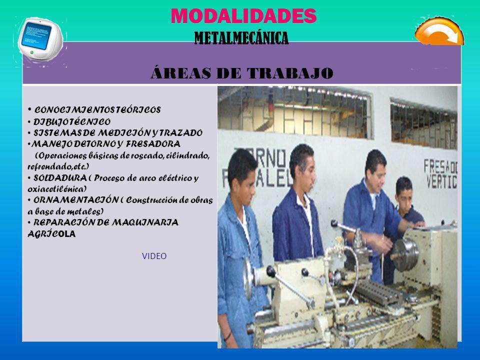 MODALIDADES METALMECÁNICA ÁREAS DE TRABAJO CONOCIMIENTOS TEÓRICOS