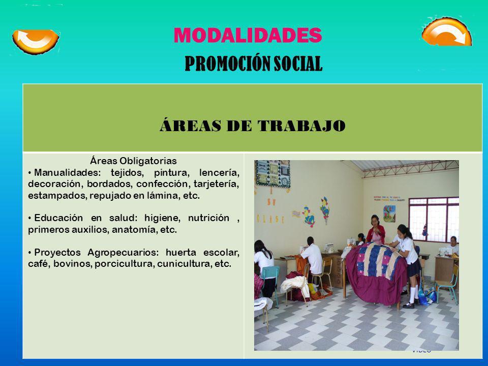 MODALIDADES PROMOCIÓN SOCIAL ÁREAS DE TRABAJO Áreas Obligatorias