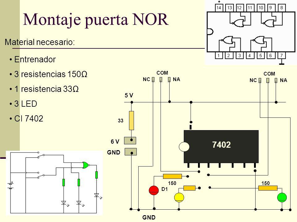 Montaje puerta NOR Material necesario: Entrenador 3 resistencias 150Ω