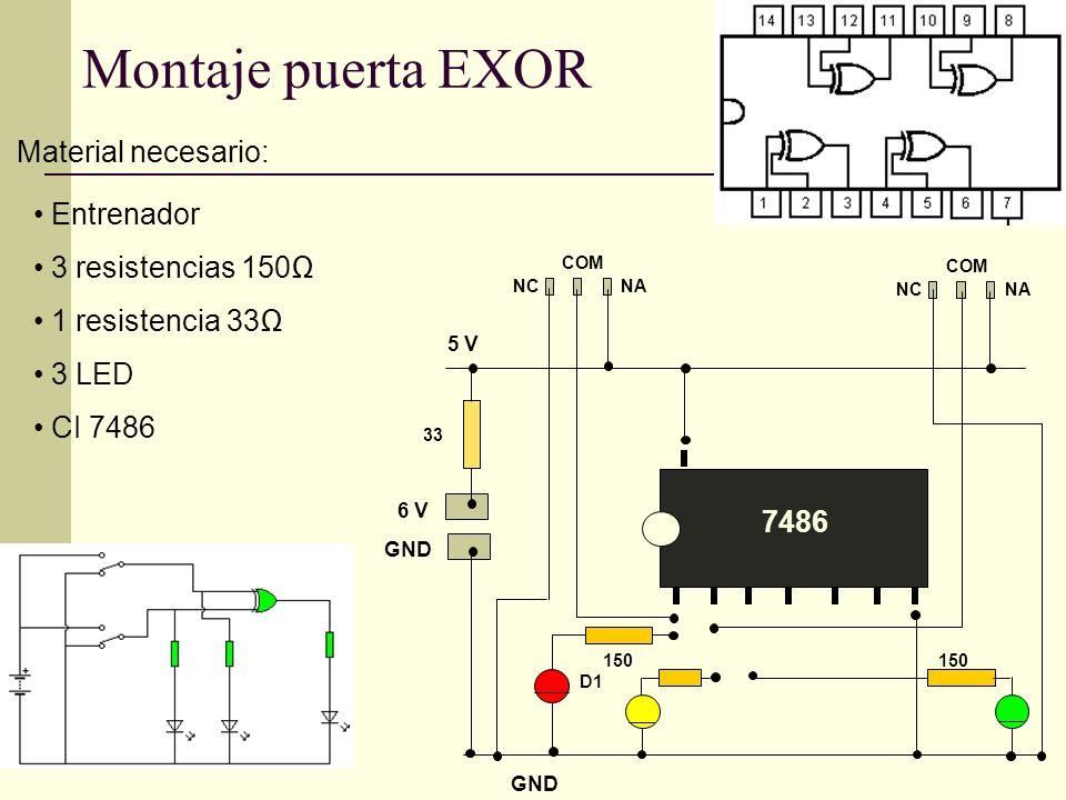 Montaje puerta EXOR Material necesario: Entrenador 3 resistencias 150Ω