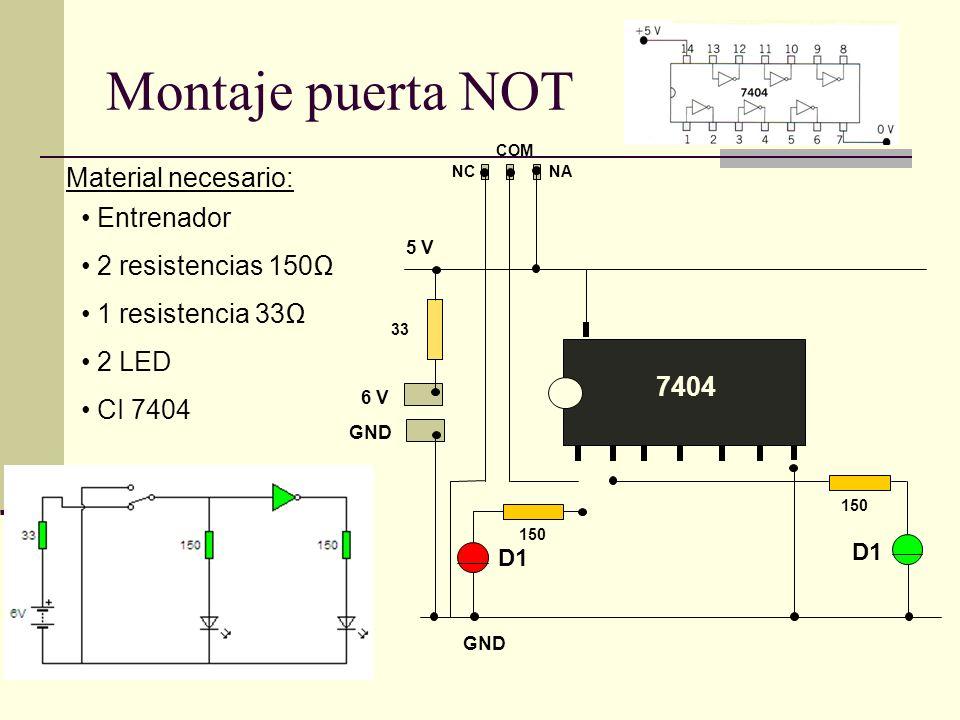Montaje puerta NOT Material necesario: Entrenador 2 resistencias 150Ω