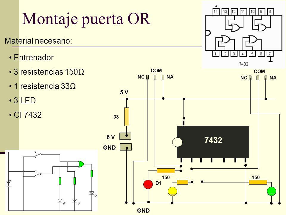 Montaje puerta OR Material necesario: Entrenador 3 resistencias 150Ω