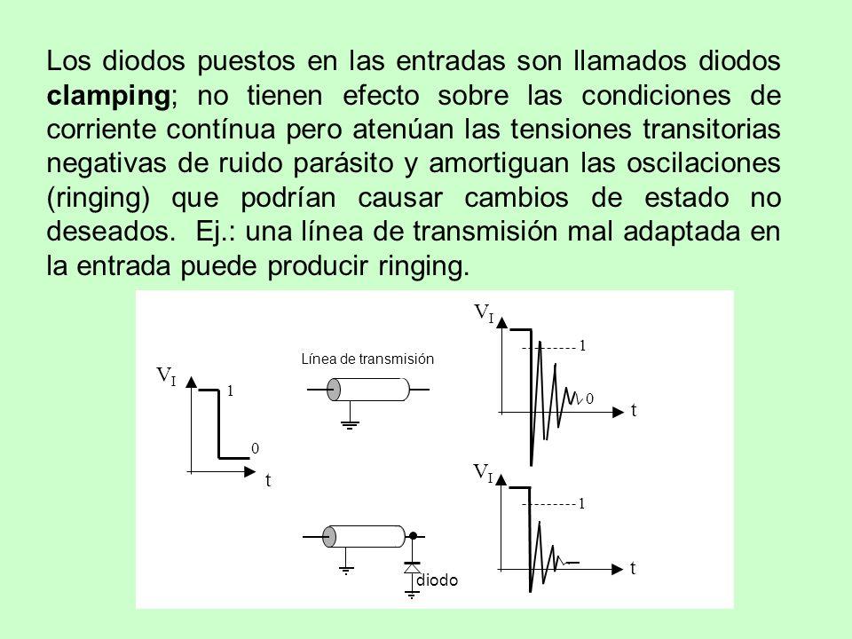 Los diodos puestos en las entradas son llamados diodos clamping; no tienen efecto sobre las condiciones de corriente contínua pero atenúan las tensiones transitorias negativas de ruido parásito y amortiguan las oscilaciones (ringing) que podrían causar cambios de estado no deseados. Ej.: una línea de transmisión mal adaptada en la entrada puede producir ringing.