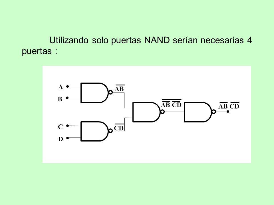 Utilizando solo puertas NAND serían necesarias 4 puertas :
