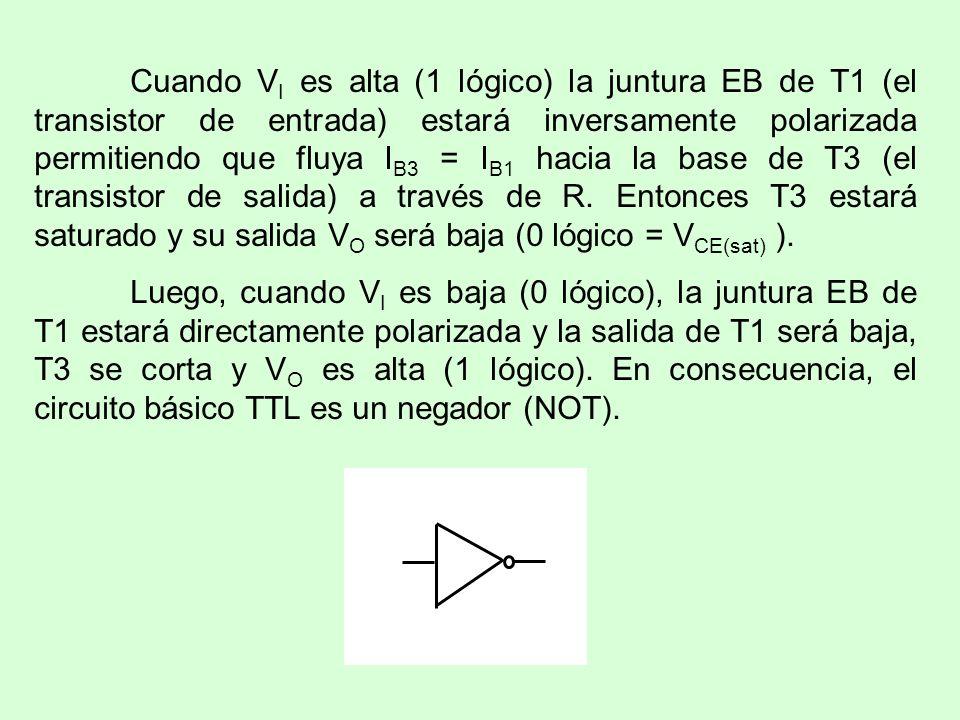 Cuando VI es alta (1 lógico) la juntura EB de T1 (el transistor de entrada) estará inversamente polarizada permitiendo que fluya IB3 = IB1 hacia la base de T3 (el transistor de salida) a través de R. Entonces T3 estará saturado y su salida VO será baja (0 lógico = VCE(sat) ).