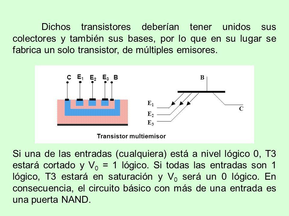 Dichos transistores deberían tener unidos sus colectores y también sus bases, por lo que en su lugar se fabrica un solo transistor, de múltiples emisores.