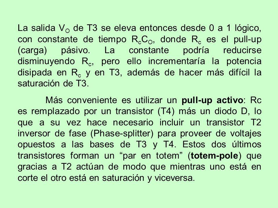La salida VO de T3 se eleva entonces desde 0 a 1 lógico, con constante de tiempo RcCO, donde Rc es el pull-up (carga) pásivo. La constante podría reducirse disminuyendo Rc, pero ello incrementaría la potencia disipada en Rc y en T3, además de hacer más difícil la saturación de T3.