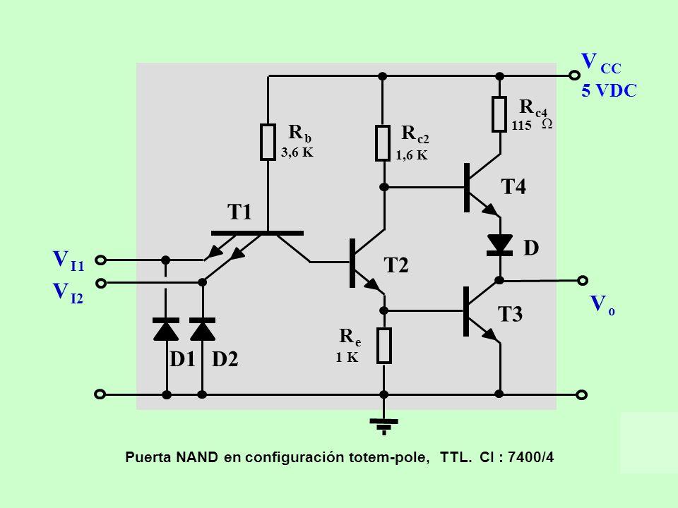 V CC. I. 1. I2. o. D. D1. D2. T1. T2. T3. T4. 1 K. 3,6 K. 115. 1,6 K. Puerta NAND en configuración totem-pole, TTL. CI : 7400/4.