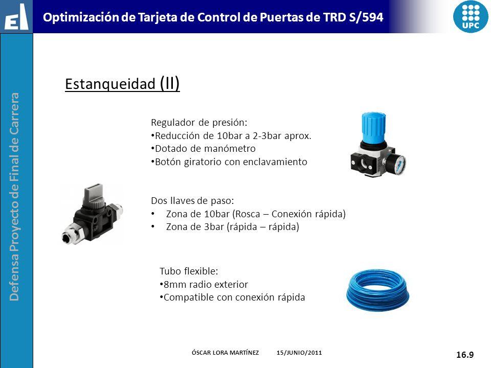 Estanqueidad (II) Regulador de presión: