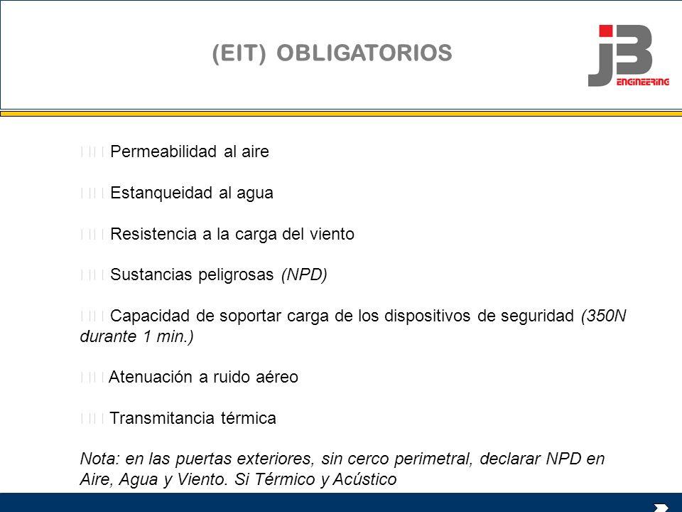 (EIT) OBLIGATORIOS  Permeabilidad al aire  Estanqueidad al agua