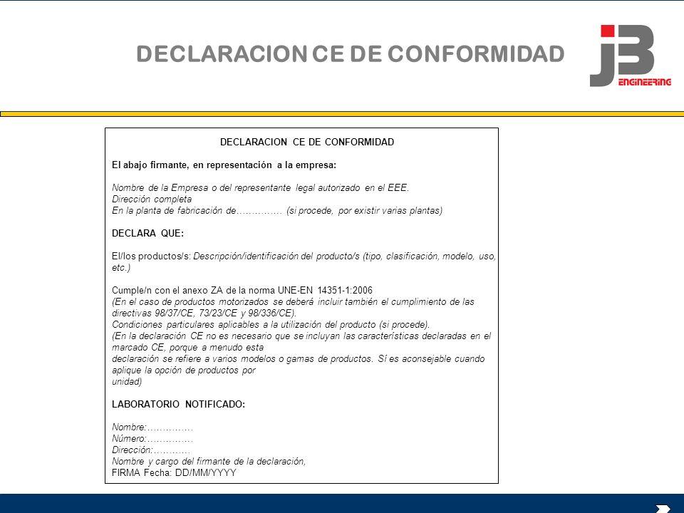 DECLARACION CE DE CONFORMIDAD