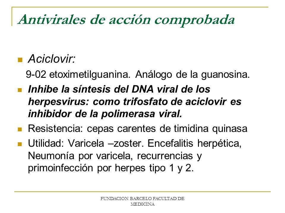 Antivirales de acción comprobada