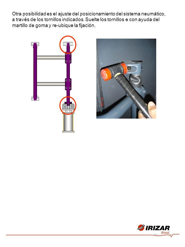 Otra posibilidad es el ajuste del posicionamiento del sistema neumático, a través de los tornillos indicados.