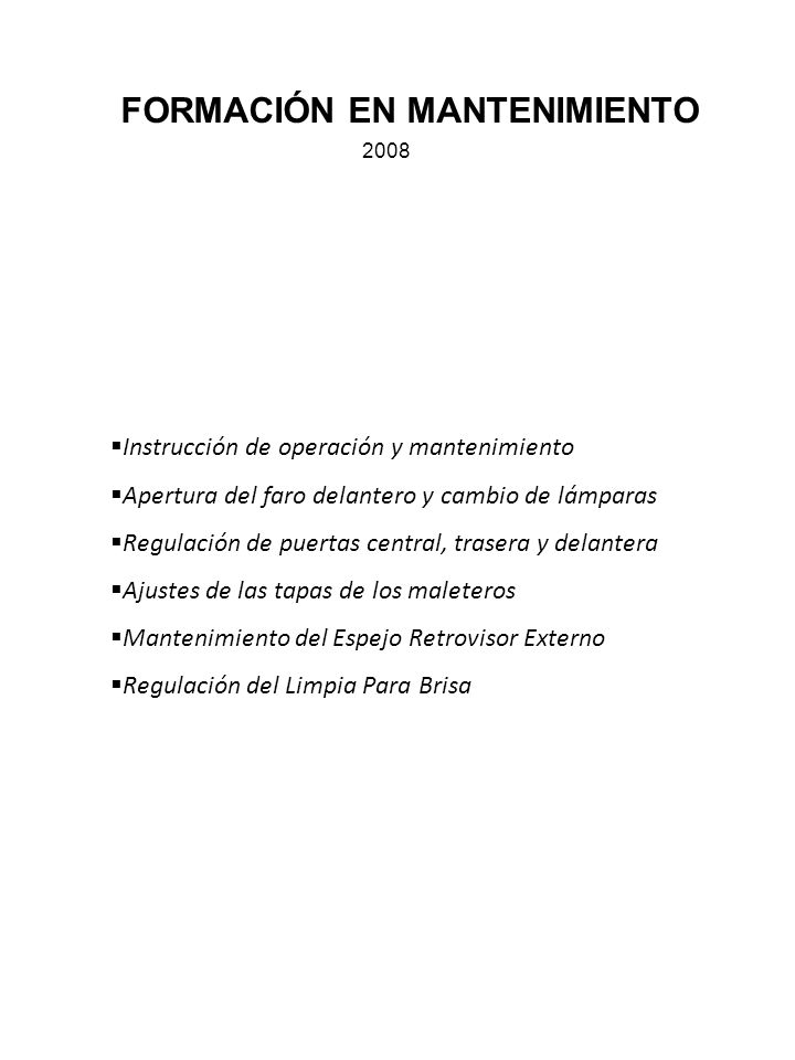 FORMACIÓN EN MANTENIMIENTO