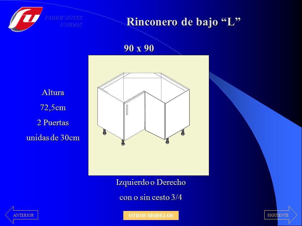 Rinconero de bajo L 90 x 90 Altura 72,5cm 2 Puertas unidas de 30cm