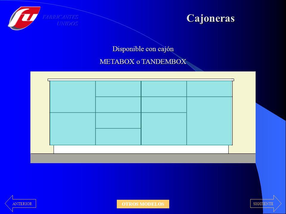 Cajoneras Disponible con cajón METABOX o TANDEMBOX FABRICANTES UNIDOS